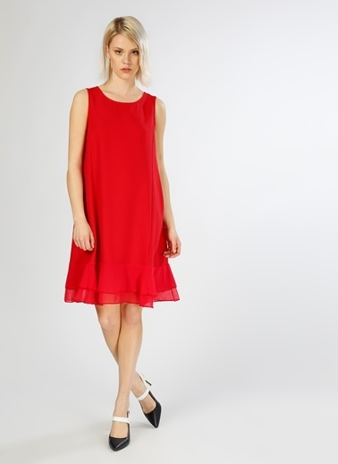 Limon Company Kolsuz Etek Ucu Volanlı Kısa Elbise Kırmızı